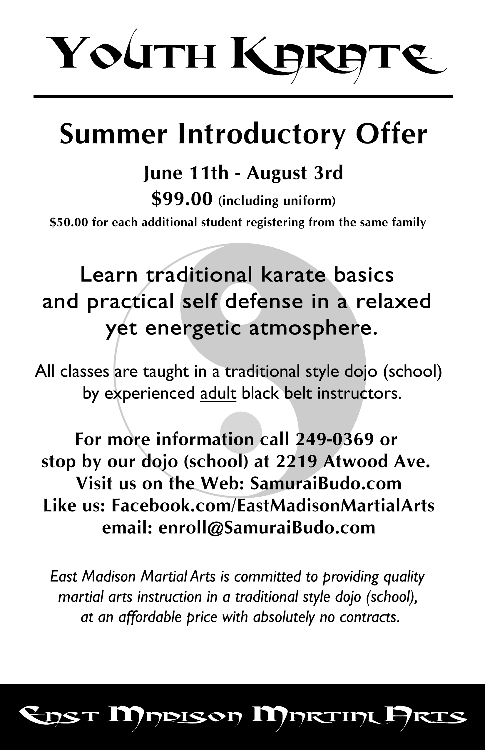 Youth Summer Karate